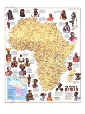 1971 Peoples of Africa Map by National Geographic Maps