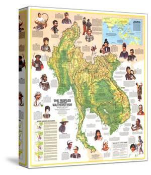 1971 Peoples of Mainland Southeast Asia Map by National Geographic Maps