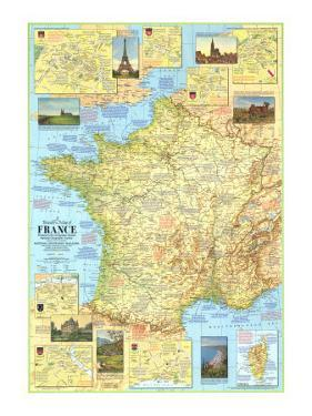 1971 Travelers Map of France by National Geographic Maps