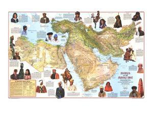 1972 Peoples of the Middle East Map by National Geographic Maps