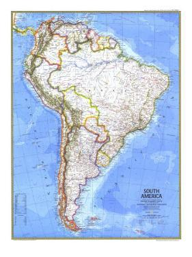 1972 South America Map by National Geographic Maps