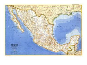 1973 Mexico Map by National Geographic Maps