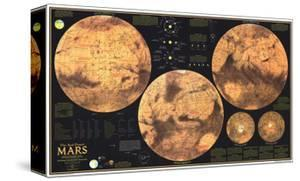 1973 Red Planet Mars Map by National Geographic Maps