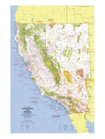 1974 Close-up USA, California and Nevada Map by National Geographic Maps