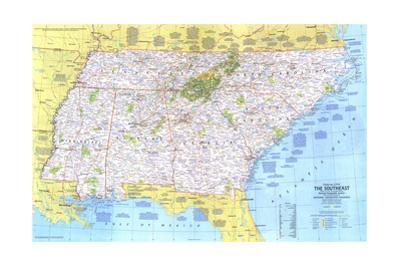 1975 Close-up USA, the Southeast by National Geographic Maps