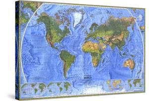 1975 Physical World Map by National Geographic Maps