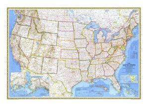 1976 United States Map by National Geographic Maps