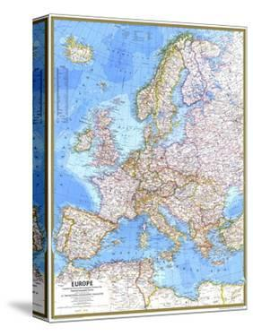 1977 Europe Map by National Geographic Maps