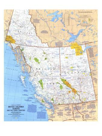 1978 British Columbia, Alberta and the Yukon Territory Map by National Geographic Maps