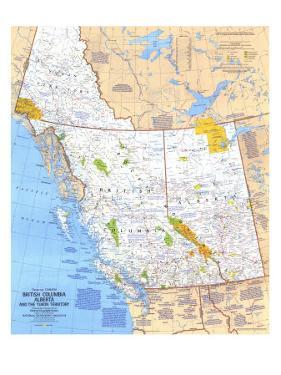 1978 British Columbia, Alberta and the Yukon Territory Map by National Geographic Maps