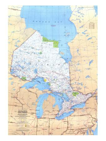 1978 Ontario Canada Map by National Geographic Maps