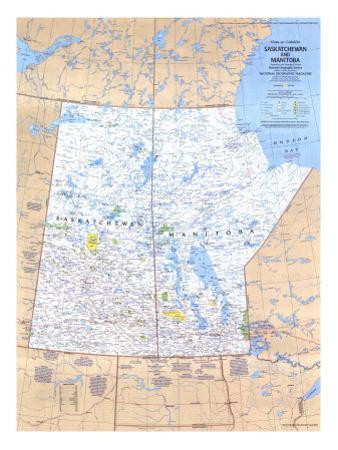 1979 Saskatchewan and Manitoba Canada Map by National Geographic Maps
