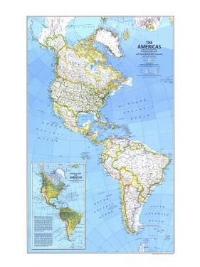 1979 The Americas Map by National Geographic Maps