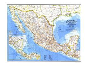 1980 Mexico and Central America Map by National Geographic Maps