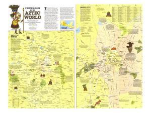 1980 Visitors Guide to the Aztec World Map by National Geographic Maps
