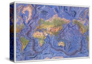 1981 World Ocean Floor Map by National Geographic Maps