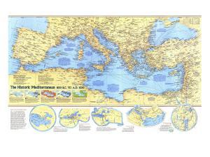 1982 Historic Mediterranean, 800 BC to AD 1500 Map by National Geographic Maps