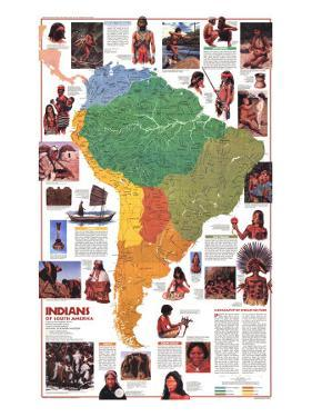 1982 Indians of South America Map by National Geographic Maps