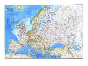 1983 Europe Map by National Geographic Maps
