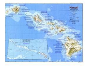 1983 Hawaii Map by National Geographic Maps