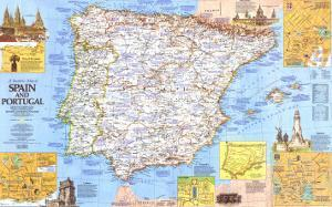1984 Travelers Map of Spain and Portugal by National Geographic Maps