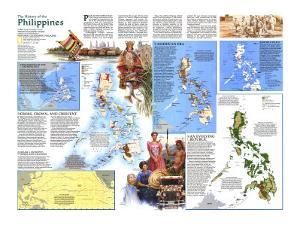 1986 History of the Philippines Map by National Geographic Maps