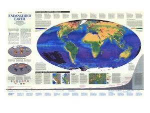 1988 Endangered Earth Map by National Geographic Maps