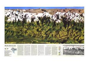1988 High Himalaya Map by National Geographic Maps