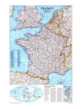 1989 France Map by National Geographic Maps