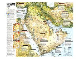 1991 Middle East, States in Turmoil Map by National Geographic Maps