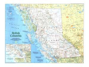 1992 Making of Canada, British Columbia Map by National Geographic Maps