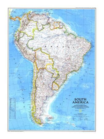 1992 South America Map by National Geographic Maps