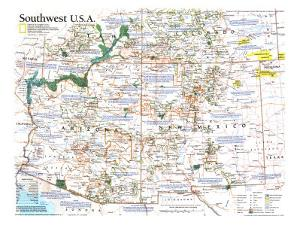 1992 Southwest, USA Map by National Geographic Maps