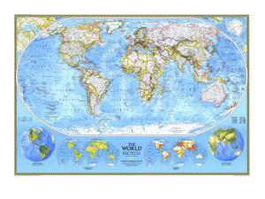1994 World Political Map by National Geographic Maps