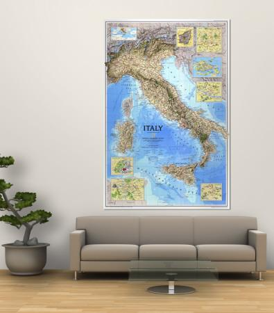 1995 Italy MapNational Geographic Maps. Wall Mural Part 75