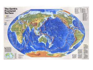 1995 The Earths Fractured Surface Map by National Geographic Maps