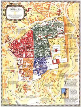 1996 Jerusalem, the Old City Map by National Geographic Maps