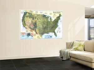 1996 United States, the Physical Landscape Map by National Geographic Maps
