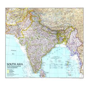 1997 South Asia with Afghanistan and Myanmar Map by National Geographic Maps