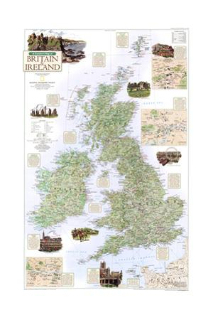 2000 A Traveler's Map of Britain and Ireland by National Geographic Maps