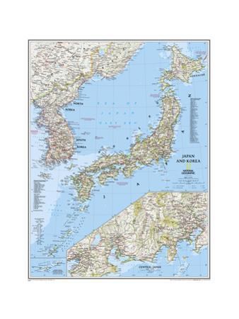 2011 Japan and Korea Map by National Geographic Maps