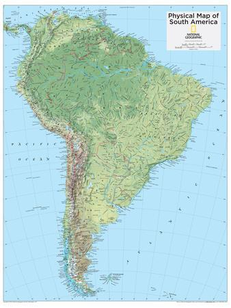 Maps Of South America Posters At AllPosterscom - Physical map of ecuador