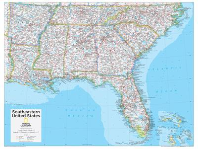 Maps Of North America Natl Geo Posters At AllPosterscom - Map of southeastern us
