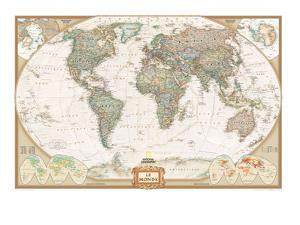 French Executive World Map by National Geographic Maps
