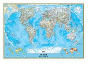 German Classic World Map by National Geographic Maps