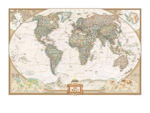 German Executive World Map by National Geographic Maps