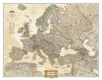 National Geographic - Europe Executive Map, Enlarged & Laminated Poster by National Geographic Maps