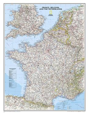 National Geographic - France, Belgium, and The Netherlands Classic Map Laminated Poster by National Geographic Maps