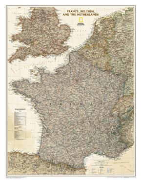 National Geographic - France, Belgium, and The Netherlands Executive Map Laminated Poster by National Geographic Maps