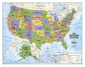 National Geographic - Kids Political USA Education Map (Grades 4-12) Giant Laminated Poster by National Geographic Maps